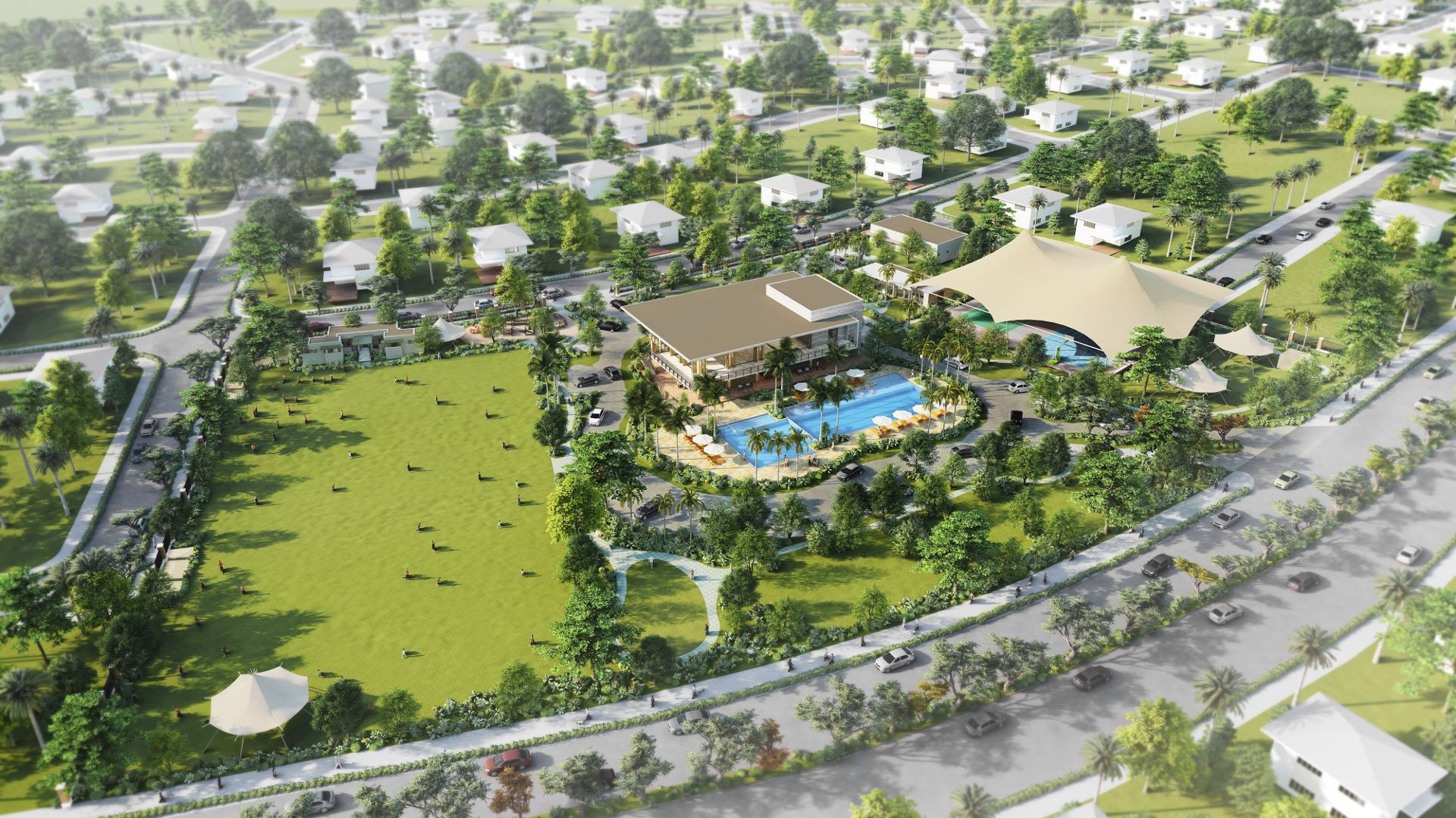 Rockwell South at Carmelray - Central Amenity Aerial Shot